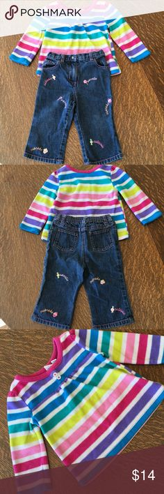 Girls Jeans and Top Bundle This adorable and warm outfit features Gymboree Jeans, 12-18 months, great condition,no wear or tear at all.  Top is Children's Place 18-24 months.  It is also in great condition, soft and warm fleece.  Non smoker home. I give bundle discounts! Gymboree Matching Sets