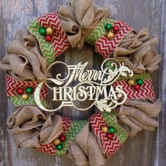 Christmas+Burlap+Wreath++by+HarvestLnDesign+on+Etsy,+$56.00