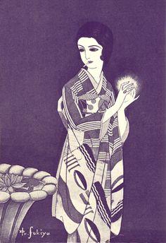 Japan antique art. illustrator / Kouji Fukiya. kimono beauty lady. last years of the taisyou period / early Showa period.