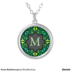 Green Kaleidoscope Silver Plated Necklace