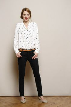 Des petis hauts - white patterned shirt with black tailored pants and a tan belt