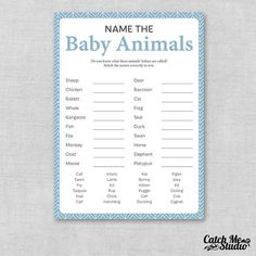 Printable Blue Baby Shower Game Name The Baby Animal, Name The Baby Animals Game, Baby Animal Match, Baby Boy The baby animals name game is great to have at any baby shower. Our cards have a list of 20 animals and lines for the guests to write on. Have your guests guess what the