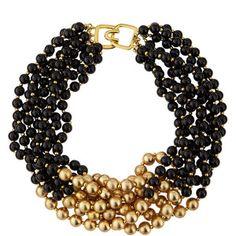 Kenneth Jay Lane Black & Golden Beaded Multi-Strand Necklace