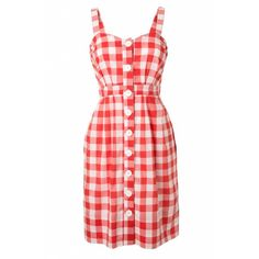 Emily and Fin 50s Hannah red and white gingham check cotton dress ❤ liked on Polyvore featuring dresses, gingham print dress, cotton dresses, emily and fin dress, emily and fin and cotton day dresses