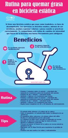 Infografía: Rutina para quemar #grasa en #bicicleta estática. #salud #belleza #fitness
