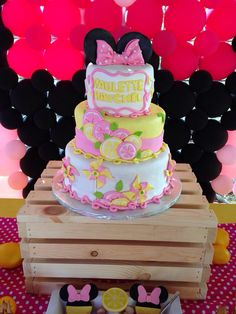 Minnie Mouse Pink lemonade 2nd birthday Cake First Birthday Cakes, Girl Birthday, Birthday Parties, Birthday Ideas, Pink Lemonade Cake, Minnie Mouse Pink, Bridal Shower Party, Luau Party, Themed Cakes