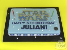 Custom cakes made in Cheshunt Happy 5th Birthday, Cake Logo, Custom Cakes, How To Make Cake, Star Wars, Stars, Personalized Cakes, Personalised Cake Toppers, Sterne
