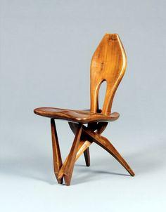 Carlo Mollino; Walnut Reproduction of a Prototype Chair for the Vigna Nuova Gallery, 1948.