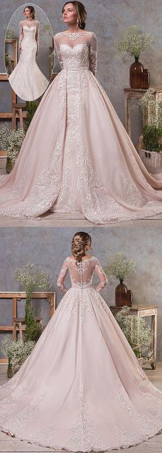 Elegant Tulle & Organza Bateau Neckline Natural Waistline 2 In 1 Wedding Dress With Lace Appliques & Beadings & Detachable Skirt from Santafe Bridal 2 In 1 Wedding Dress, Detachable Wedding Dress, Wedding Dress Organza, Colored Wedding Dresses, Perfect Wedding Dress, Wedding Dress Styles, Elegant Wedding, Bridal Gowns, Wedding Gowns