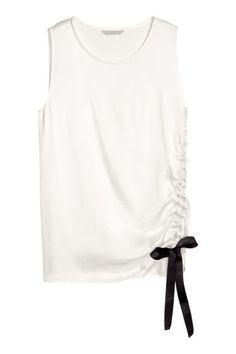 Bluză cu șnur - Alb - FEMEI   H&M RO