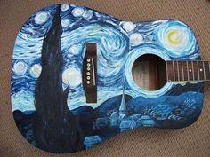 "Corpo (top of the body ) com motivos da tela de Van Gogh ""Noite estrelada"" (Starry night), 1889 Ukulele Art, Guitar Art, Cool Guitar, Guitar Crafts, Ukulele Songs, Music Guitar, Guitar Chords, Desenhos Van Gogh, Art Hippie"