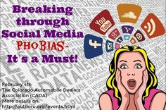 #Colorado #authors break through your social media phobias, Feb. 4th at Author U with Judith Briles, Erin Cell, Laurie Weiss, Ph.D. and myself. Attend this event to explore various strategies for increasing your visibility online, selllng your books and building your following (aka potential readers).