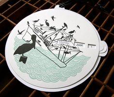letterpress bird silhouette perpetual calendar with identification chart on back, http://www.etsy.com/listing/94166655/letterpress-bird-silhouette-calendar, $36