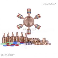 Metal Fidget Spinner Gold with Tri Colour Band Hand Spinner Brass Toy Hand Spinner Bar Anti-Stress Autism Children Adult