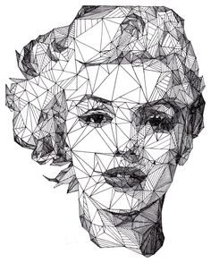 Marilyn Monroe - [Pen] / Josh Bryan. Oh yes. I love the fractally goodness of this illustration style. Also the contrast between harsh angles and the soft, soft curves of Marilyn.