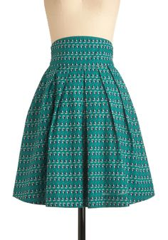 Sail We Dance Skirt by Emily and Fin - Casual, Nautical, Green, Novelty Print, Pleats, A-line, Spring, Blue, White, Long