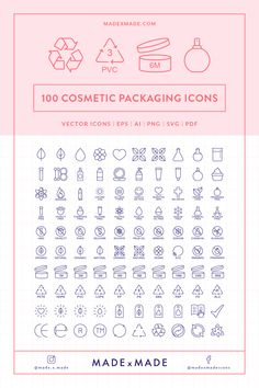 Line Icons – Cosmetic Packaging Design Ios, Icon Design, Branding Design, Flat Design, Cosmetic Labels, Cosmetic Packaging, Design Thinking, Cosmetic Design, Packaging