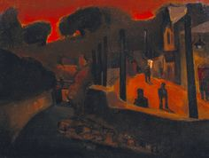 'Evening in Ystradgynlais' painted in 1948 by Artist Josef Herman, of Ystradgynlais.