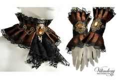 Cute Steampunk style jewelry set – Steam Wedding, Victorin fantasy gear, Brown pair of cuffs and collar, Choker with jabot, Fairy wings - DIY Schmuck Inspiration Costume Steampunk, Style Steampunk, Steampunk Wedding, Victorian Steampunk, Steampunk Diy, Steampunk Clothing, Steampunk Fashion, Gothic, Ibiza Look