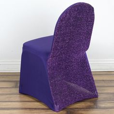 Purple Spandex Stretch Banquet Chair Cover With Metallic Glittering Back Chair Sashes, Chair Backs, Purple Wedding Decorations, Banquet Chair Covers, Purple Chair, Spandex Chair Covers, Rainbow Wedding, Wedding Chairs, Timeless Elegance