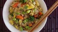 Edamame & Veggie fried brown rice - I wonder if I could reduce the oil, and then bake it. It would be more dietary, but not as yummy...