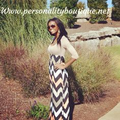 NEW ARRIVALS at personality boutique. One of our all time favorites!! Love it chevron maxi mocha peach dress