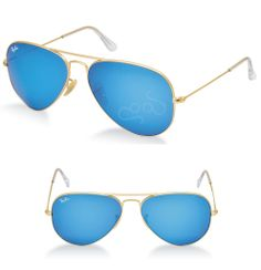 294d7d48a Ray Ban RB3025 Aviador Lentes 55 mm color azul y brazo color dorado Lentes,  Gafas