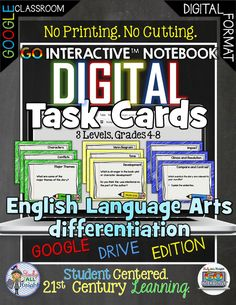GO Interactive Language Arts Differentiation Digital Task Cards Google Edition ($)