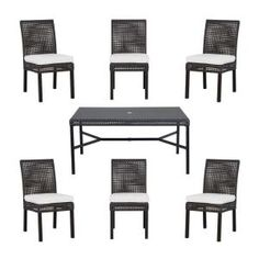 Hampton Bay Fenton 7 Piece Patio Dining Set With Cushion Insert (Slipcovers  Sold Separately)