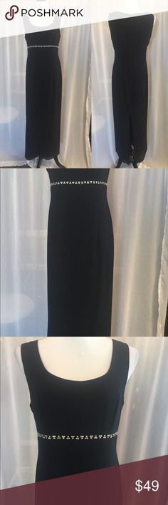 Black Formal Dress Simple yet elegant with one strip of silver bling at high waist, slit up the back After Dark Dresses Prom