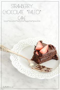 Strawberry Chocolate Paleo Cake - A Healthy Life For Me #GlutenFree #Paleo #DairyFree #ChocolateCake