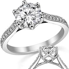 Round Brilliant Moissanite 6-Prong Trellis Engagement Ring