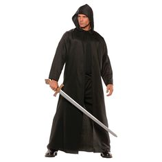 Men's Faux Leather Cloak Costume One Size Fits Most, Black