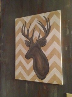 Custom canvas. www.kevynteriors.com Interior Rendering, Interior Design, Custom Canvas, Canvas Artwork, Moose Art, To Go, Places, Projects, Animals