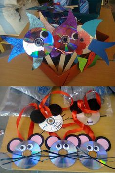 What to do with all those old CDs lying around your house. Upscale them into cute fish or mice for your kids. These were made by students in our Nursery classes.