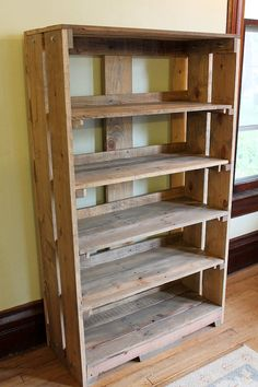 Wood Bookshelf Bookcase Bookshelves Pallet Shelf Furniture Reclaimed Shelves Rustic