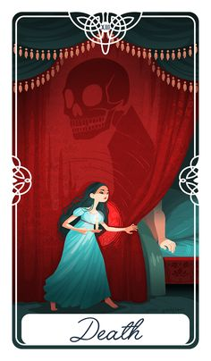 """Poster+size++12""""+x++16""""  Death+for+The+Fairytale+Tarot+deck.+ This+is+the+story+of+the+Bear+King+(Or+Psyche/Cupid).+Choices+will+unexpectedly+end+the+life+you+knew,+but+that's+necessary+move+forward.+"""