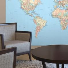 Sepia Toned Vintage World Map Mural Is Great For The Studious And - World map sepia toned