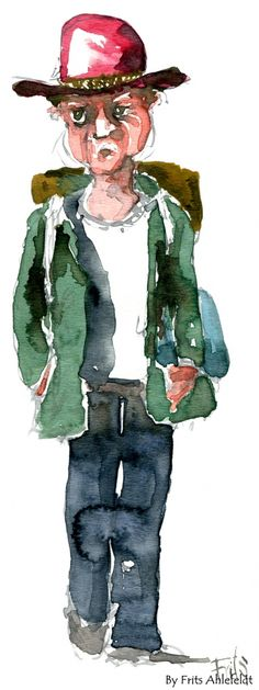 Watercolor from the streets. Man with red hat. By Frits Ahlefeldt.