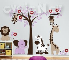 Children Wall Decals - Safari Set with Zebra, Lion, Giraffe and Elephant - Wall…