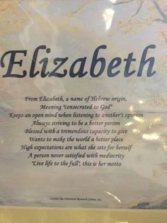 Meaning of the name Elizabeth
