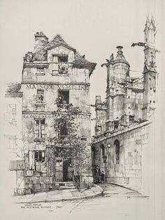 Samuel Chamberlain (1895-1975-American) - Vielle Maison, Rue Saint Etienne du Mont, Paris - 1924