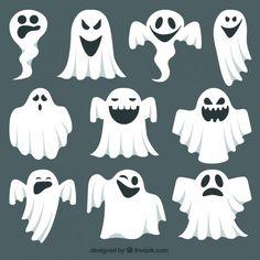 Colección fantasma expresivos Vector Gratis