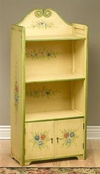 Hand-Painted Antique Ivory Book Holder. h1Hand-Painted Antique Ivory Book Holder_h1Charming is the only word for this antique ivory painted book holder with antique green trim. Hand-painted flower and leaf designs are displayed on the background, sides and door.. . See More Bookcases at http://www.ourgreatshop.com/Bookcases-C679.aspx