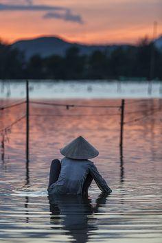 Sunset fishing, Lang Co, Vietnam
