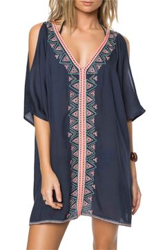 9e0f93c4dcc00 Main Image - O Neill Cosa Embroidered Cover-Up Dress Bathing Suit Cover Up