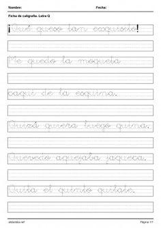 Diferentes ejercicios de letra manuscrita