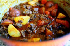 Beef stew with beer and paprika. Made it this weekend in the crock pot (just use less liquid) and it was so scrumptious!