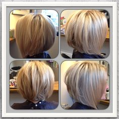 Love my new hair! Blonde highlighted inverted / graduated bob.