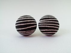 Black white stripes fabric button earrings